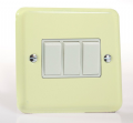 Varilight Pastel 3 Gang 10A 1 or 2 way Rocker Light Switch White Chocolate XY3W.WC